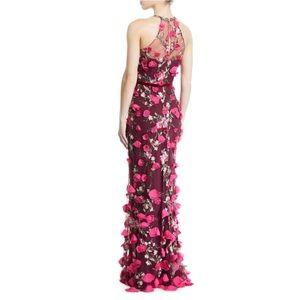 NWT - Marchesa Notte 3D Flower Halter Gown